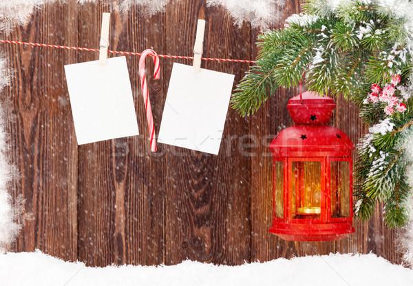 Natale candela lanterna foto foto fotogrammi Foto d'archivio © karandaev