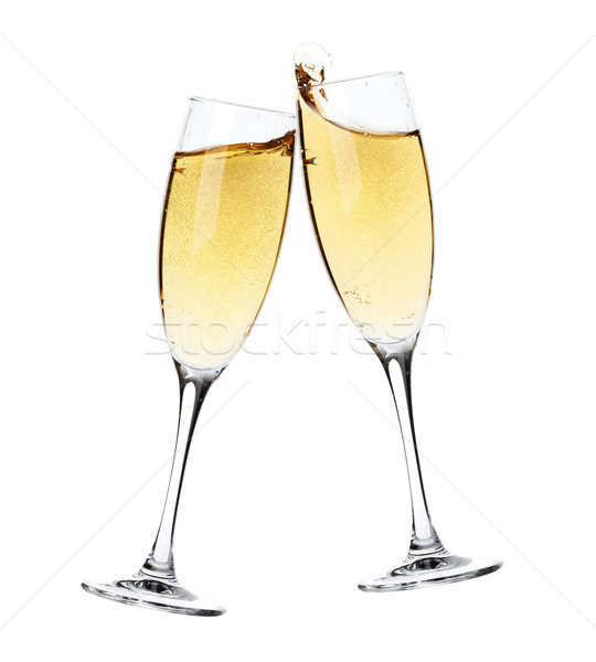 Foto stock: Dos · champán · gafas · aislado · blanco · fiesta