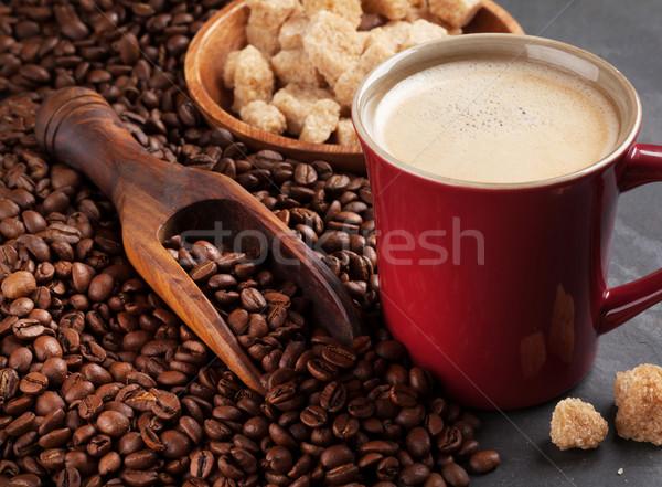 コーヒーカップ 豆 ブラウンシュガー 石 表 テクスチャ ストックフォト © karandaev