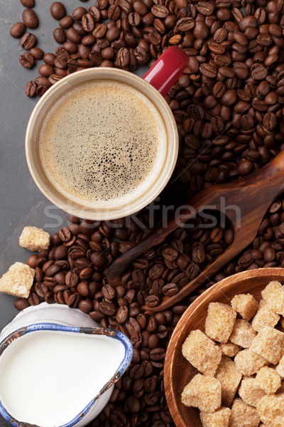 Caffè latte zucchero di canna pietra tavola top Foto d'archivio © karandaev