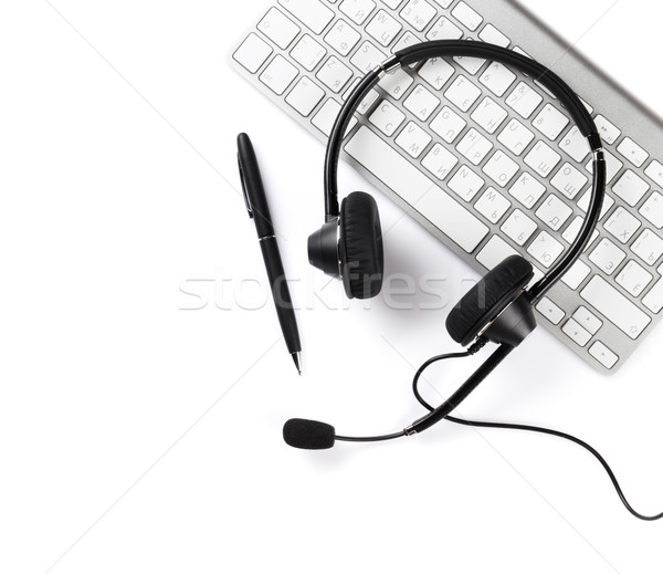 Headset, pen and keyboard Stock photo © karandaev