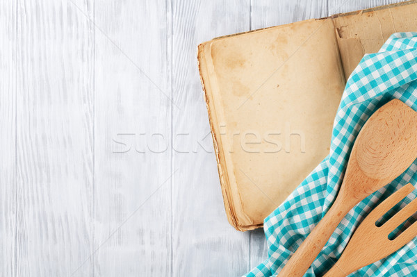Receita livro utensílios vintage cozinhar Foto stock © karandaev