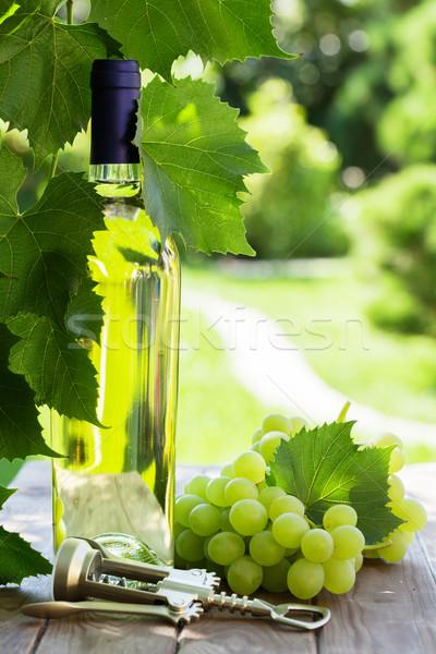 Foto stock: Garrafa · de · vinho · branco · branco · uva · jardim · tabela · vinho