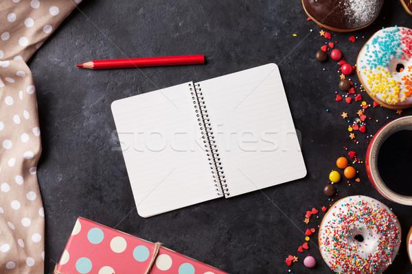 Foto d'archivio: Notepad · caffè · pietra · tavola · top