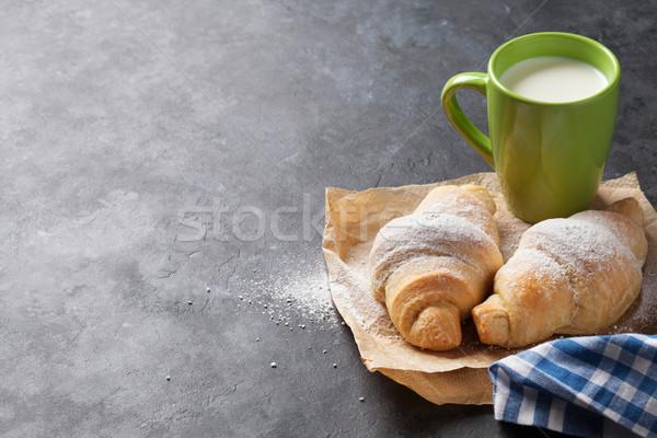 свежие круассан молоко круассаны каменные таблице Сток-фото © karandaev