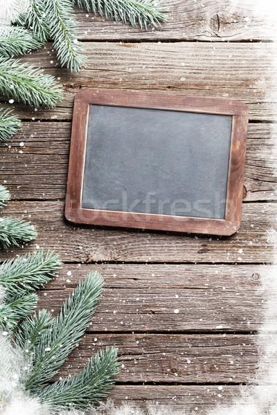 Noël neige tableau noir espace de copie texture Photo stock © karandaev