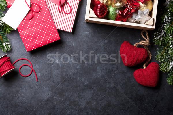 Chalkboard for your xmas text. Christmas gift wrapping Stock photo © karandaev