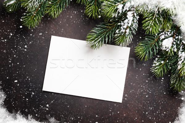 Karácsony üdvözlőlap fenyőfa kő felső kilátás Stock fotó © karandaev
