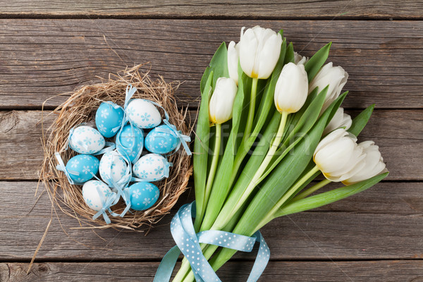пасхальных яиц гнезда белый тюльпаны Top Сток-фото © karandaev
