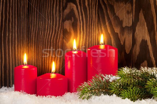 Karácsony gyertyák hó fenyőfa fából készült fal Stock fotó © karandaev