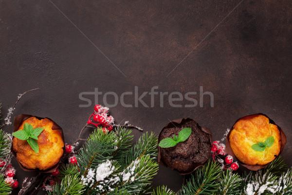 Noel tebrik kartı noel ağaç üst Stok fotoğraf © karandaev