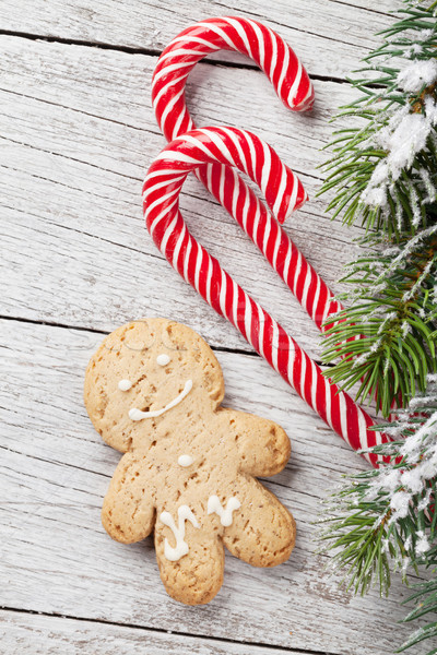 Stock photo: Christmas gingerbread man, candy canes and fir tree