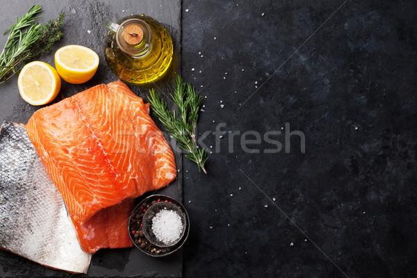 生 鮭 魚 フィレット スパイス 料理 ストックフォト © karandaev