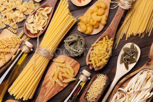 Unterschiedlich Pasta Gewürze Kochen top Ansicht Stock foto © karandaev
