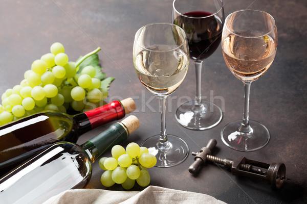 ワイングラス ブドウ 石 表 食品 フルーツ ストックフォト © karandaev