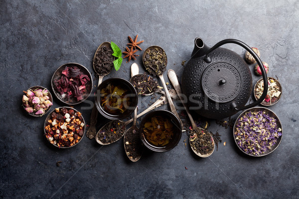 Various tea and teapot. Black, green and red tea Stock photo © karandaev