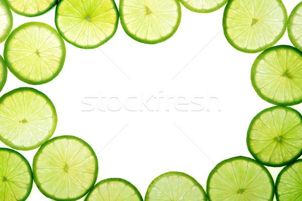 Zielone wapno plastry biały miejsce tekstury Zdjęcia stock © karandaev