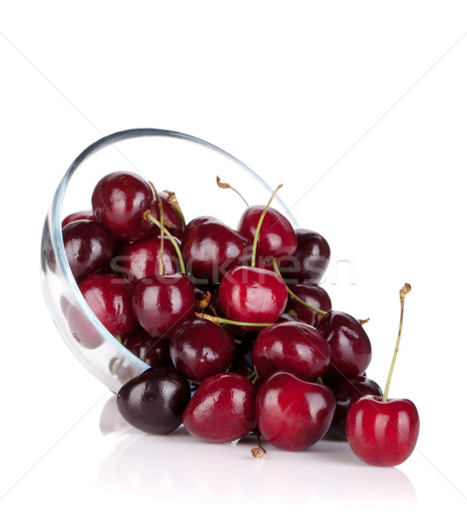 Ripe cherries in a glass bowl Stock photo © karandaev