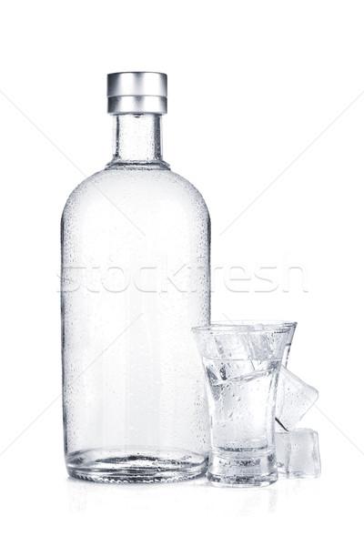 üveg vodka lövés üveg jég izolált Stock fotó © karandaev