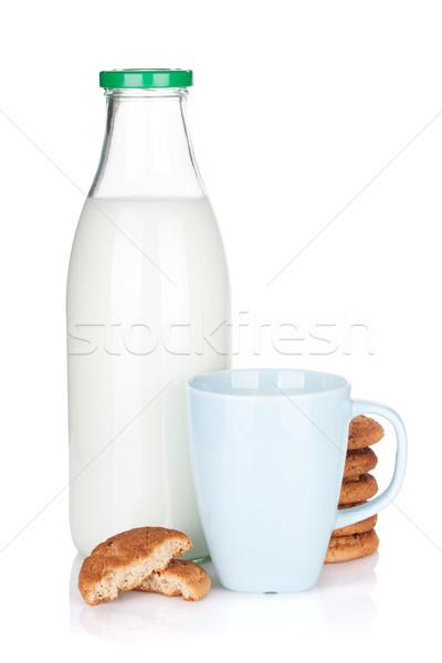 Cup, bottle of milk and cookies Stock photo © karandaev