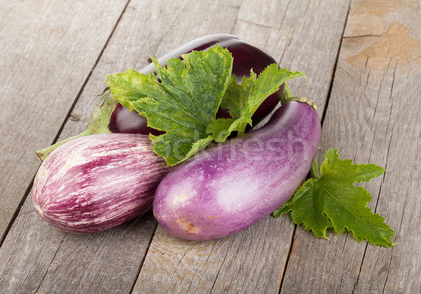 Fresh ripe eggplants Stock photo © karandaev