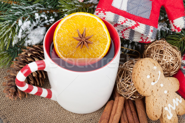 Christmas mulled wine with fir tree, gingerbread and decor Stock photo © karandaev