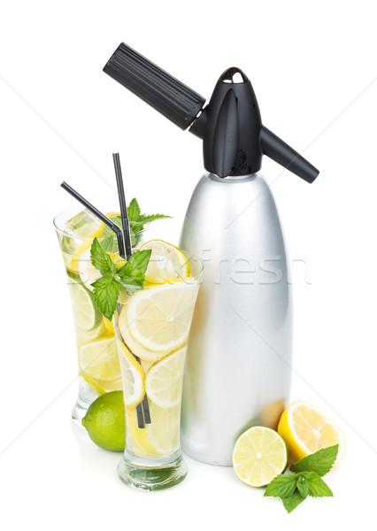 Glasses with homemade lemonade and siphon Stock photo © karandaev