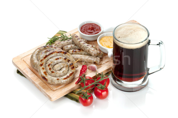 гриль кетчуп горчица кружка пива Сток-фото © karandaev
