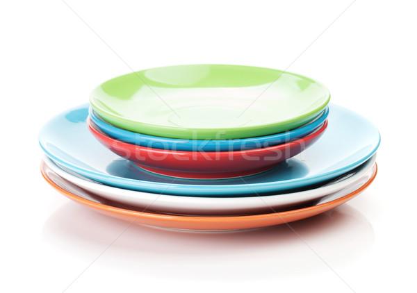 Colorido placas aislado blanco alimentos fondo Foto stock © karandaev