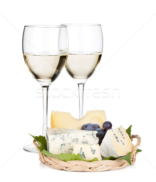 White wine, cheese and grape Stock photo © karandaev