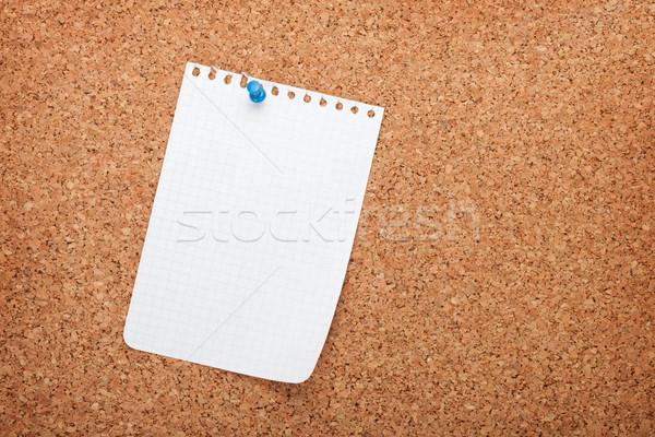 Blank notepad paper on cork wood notice board Stock photo © karandaev