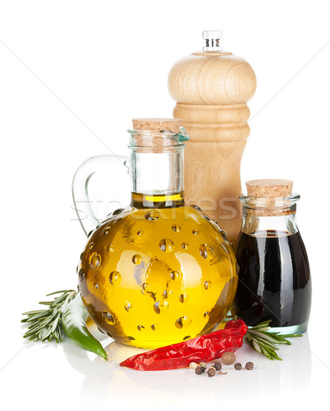 Stock photo: Olive oil and vinegar with spices