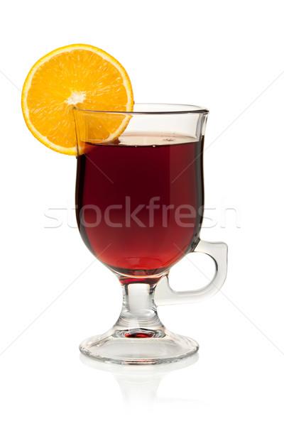 Vino rodaja de naranja aislado blanco frutas vidrio Foto stock © karandaev
