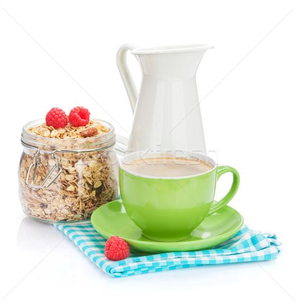 Egészséges reggeli müzli izolált fehér kávé Stock fotó © karandaev