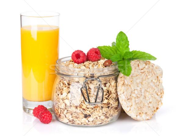 朝食 ミューズリー 液果類 オレンジジュース 孤立した 白 ストックフォト © karandaev