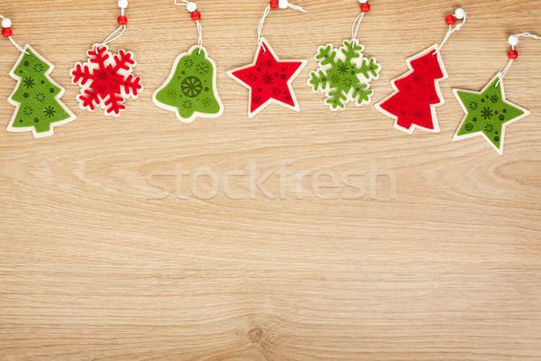 Natale legno copia spazio legno muro Foto d'archivio © karandaev