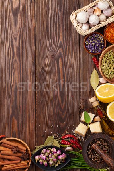 Stock fotó: Különböző · fűszer · fából · készült · felső · kilátás · copy · space