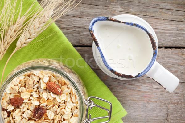 здорового завтрак мюсли молоко деревянный стол продовольствие Сток-фото © karandaev