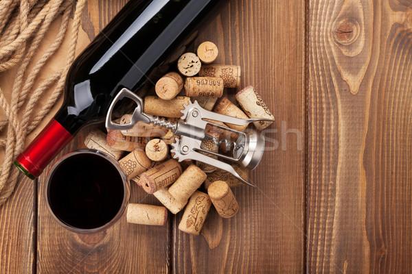 стекла бутылку штопор деревенский деревянный стол Сток-фото © karandaev