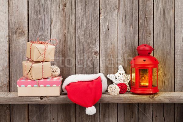 Stok fotoğraf: Noel · mum · fener · hediyeler · hediye · kutuları