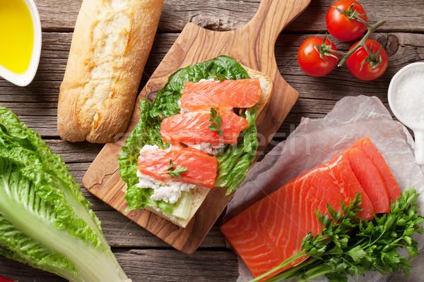 Sandwich with salmon and romaine salad Stock photo © karandaev