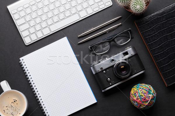 Kamery pc notatnika Fotografia okulary Zdjęcia stock © karandaev
