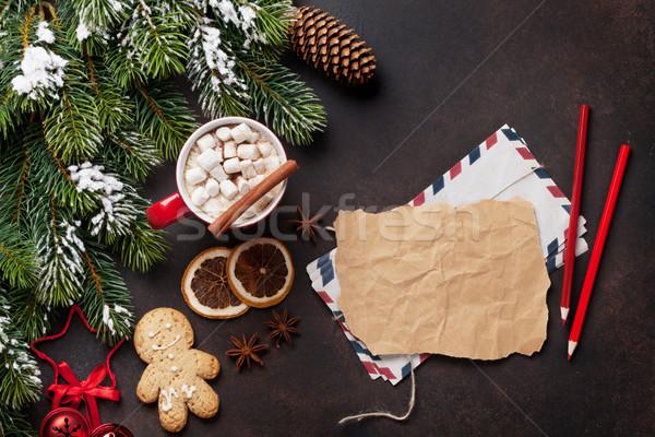 Photo stock: Noël · chocolat · chaud · guimauve · haut · vue
