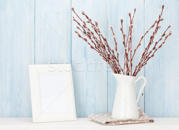 Pussy willow and blank photo frame Stock photo © karandaev