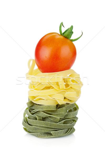 Nido pasta pomodoro ciliegio top isolato Foto d'archivio © karandaev