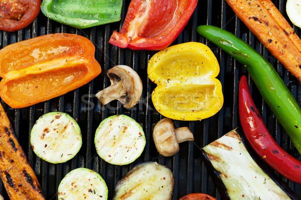 Grelhado legumes cozinhar topo ver verão Foto stock © karandaev