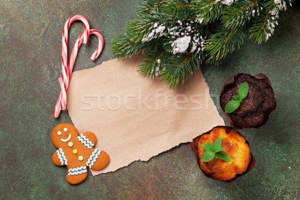 Darab papír karácsony kívánságok muffinok hó Stock fotó © karandaev