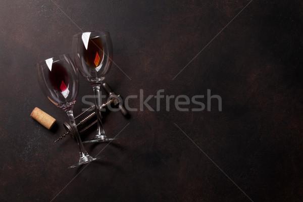 Wijnglazen vintage top ruimte Stockfoto © karandaev