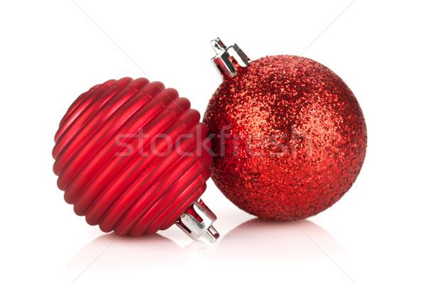 Navidad rojo chuchería decoración aislado blanco Foto stock © karandaev