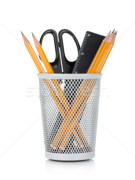Pencils, ruler and scissors Stock photo © karandaev
